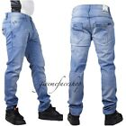 Mens slim fit skinny g jeans, Blue Stripe hip hop urban denim rock star pants