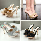 New Lady Shoes Fashion High Heel Slippers Slides Peep Toe Stiletto Sandals