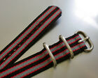 ZULU NYLON WATCH STRAP 3 RING STAINLESS STEEL HARDWARE, 20, 22 & 24mm