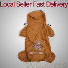 Waterproof Pet Dog Rain Coat Comfy Interior Lining 4 Legs Hoodie Small Yellow