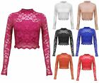 Ladies Women Net Lace long sleeves Crop Top Size 8 (S), 10(M), 12(L), 14(XL)