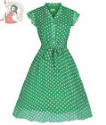 LINDY BOP 50's KODY polka dot TEA DRESS GREEN & WHITE