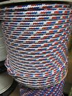 "3/8"" X 100 Halyard sail line,anchor line polyester double braid, Red/White/Blue"