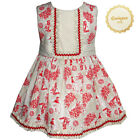 QUINPER Red Traditional Print Spanish Bow Dress Various Sizes