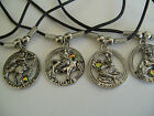 """ASTRO STAR SIGN IN CIRCLE NECKLACE /  PENDANT WITH 18"""" BLACK CORD"""