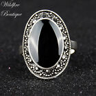 ON SALE!!! Vintage Silver Marcasite Style Oval Ring w/ Black Enamel Stone