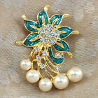 Pearls Brooch with Crystals  Gold GP or Silver Plated  5 Designs  Gift box