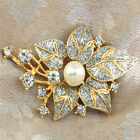 Pearls Brooch with Crystals, Gold GP or Silver Plated, 5 Designs, Gift box