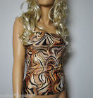 BROWN SWIRL LYCRA LONG BOOB TUBE TOP STRAPLESS BANDEAU CLUB HOLIDAY EVENING W745