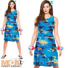 Hawaiian Blue Palm Ladies Fancy Dress Tropical Beach Adult Womens Costume Outfit