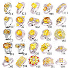 Fashion Citrine White Yellow Gemstone Nice Silver Ring Size 6 7 8 9 10 11 12 13