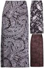 Womens New Plus Size Paisley Printed Ladies Stretch Elasticated Long Midi Skirt