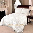 Внешний вид - CHENILLE MEDALLION BEDSPREAD Ivory or White 100% COTTON King/Queen/Full Vintage
