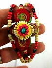 Bangle Braclet Embroidered Beads Fabric Flowers Rockabilly Stage Jewellery