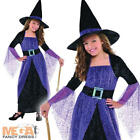 Pretty Potion Witch + Hat Fancy Dress Up Girls Halloween Witches Kids Costume