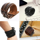 Fashion Jewelry Punk Cool Men Wide Genuine Leather Belt Bracelet Cuff Wristband