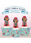 Vintage Gumball Bubble Gum Machine Birthday party Cupcake Cake Toppers Cup Cake