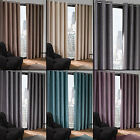 RING TOP TEXTURED THERMAL BLACKOUT EYELET READY MADE CURTAINS CREAM SILVER BLUE