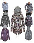 NEW LADIES WOMEN LONG SLEEVES DETACHABLE HOOD FLORAL PRINT RAIN COAT JACKET 8-24