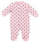 Girls Baby Pink/Brown Small Spot Fleece All in One Sleepsuit Newborn to 9 Months