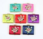 Rectangle Embroidered Flower Folding Compact Cosmetic Dual Mirror (Various)
