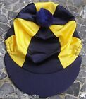 Riding Hat Silk Skull cap Cover NAVY BLUE & YELLOW With OR w/o Pompom