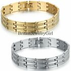 Fashion Men Women Stainless Steel Gold Silver Tone Chain Bracelet Bangle Jewelry