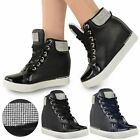 WOMENS LADIES CONCEALED WEDGE TRAINERS DIAMANTE HI TOP BOOTS PUMP SNEAKERS SIZE