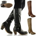 WOMENS LADIES WIDE LEG KNEE HIGH MID CALF BLOCK HEEL RIDING BOOT STRETCH SHOES