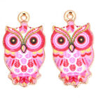 20/100pcs Gold Plated Colorful Owl Patterns Alloy Pendants Charms Findings DIY C