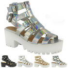 Gladiator Ladies Cut Out Strappy Platform Chunky High Heel Sandals Shoes