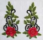 1 piece Red Flower Embroidery Sewing Applique(67#)