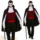 Mens Vampire Costume Gothic Count Dracula Halloween Fancy Dress Adult Outfit