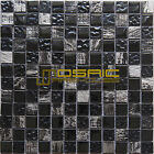 """Glass and Stone Mosaic Tile, """"Astro Collection"""" GM 4202 - Dark Knight, 1""""X1"""""""