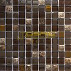 "Glass, Stone and Metal Mosaic Tile, ""Diamond Collection"" GM 6202 - Axinite, 1""X1"