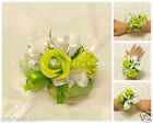 WEDDING FLOWERS/PROM RIBBON TIE-ON WRIST ROSES CORSAGE LIME GREEN & WHITE