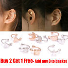 1xPair Clip-on Silver & Gold Earring Tragus Helix Cartilage Ring Non-Piercing