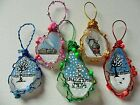 Set of 5 Trains and trees - Hand painted sea glass Christmas tree decorations
