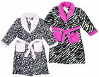 Girl's Luxury Super Soft Fleece Bath Robe Animal Print Dressing Gown 2-6yrs NEW