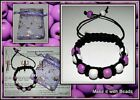 Wood Bead Bracelet Jewellery Making Kit Christmas Xmas Gift Kit purple red pink
