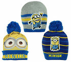 Boys Official Despicable Me Minions Winter Knit Beanie Bobble Hat 3 to 12 Years