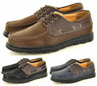 New Men's Leather LOOK Deck Boat lace up Casual Shoes in UK Size 6 7 8 9 10 11