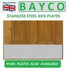 KICKPLATE SATIN STAINLESS STEEL KICK PLATE WITH SCREWS TIMBER DOOR DRILLED & CSK