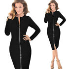 Women's Full Zipper Front Long Sleeve Bodycon Cocktail Party Pencil Work Dress