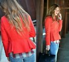 ZARA RED WOOL BLAZER JACKET WITH FRILLY WAIST SIZE MEDIUM_LARGE