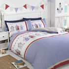 NAUTICAL BEACH HUTS SEASIDE QUILT DUVET COVER BEDDING SET SINGLE DOUBLE KING