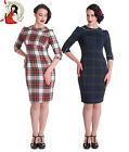 HELL BUNNY 50s DORALEE TARTAN check PENCIL wiggle DRESS GREEN WHITE XS-4XL