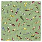 LURE IT IN Fishing Gear Patchwork or Lures Cotton Fabric Quilting Treasures