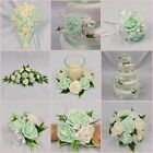 WEDDING FLOWERS BRIDAL PACKAGE BOUQUET POSY WAND BUTTONHOLE MINT GREEN + IVORY