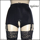 NYLONZ Vintage Style Crotchless / Open 6 Strap Smooth Girdle - Black